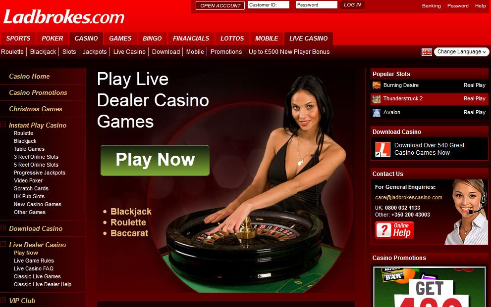 Ladbrokes Casino Game Page Screen Shot