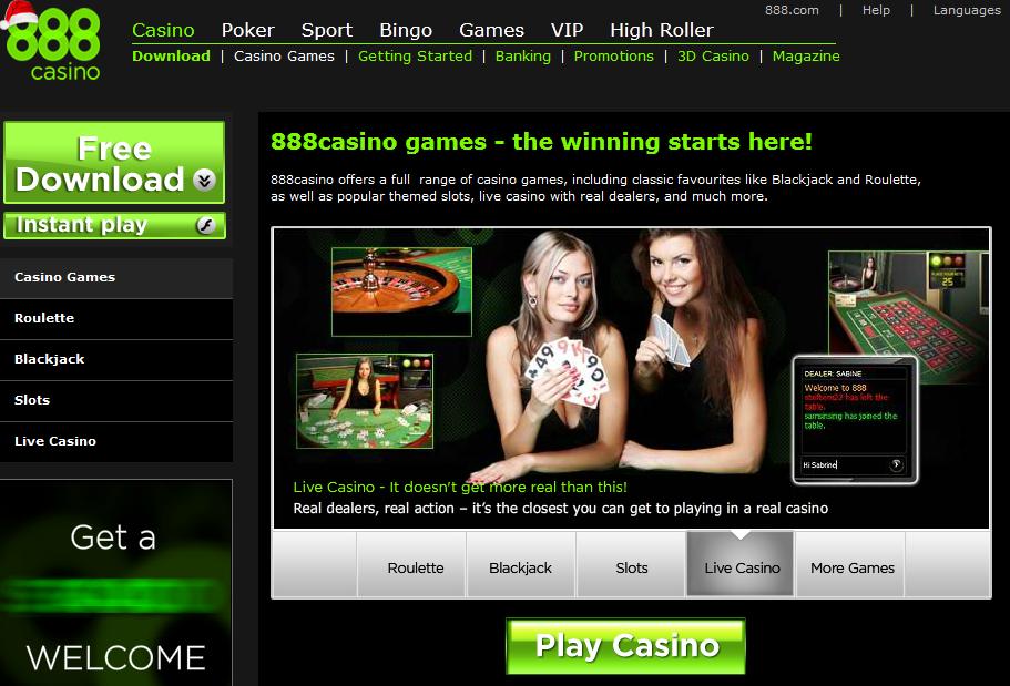 888.com Casino Gome Page Screen shot